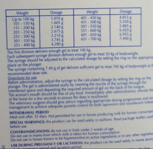 Wormer Instructions